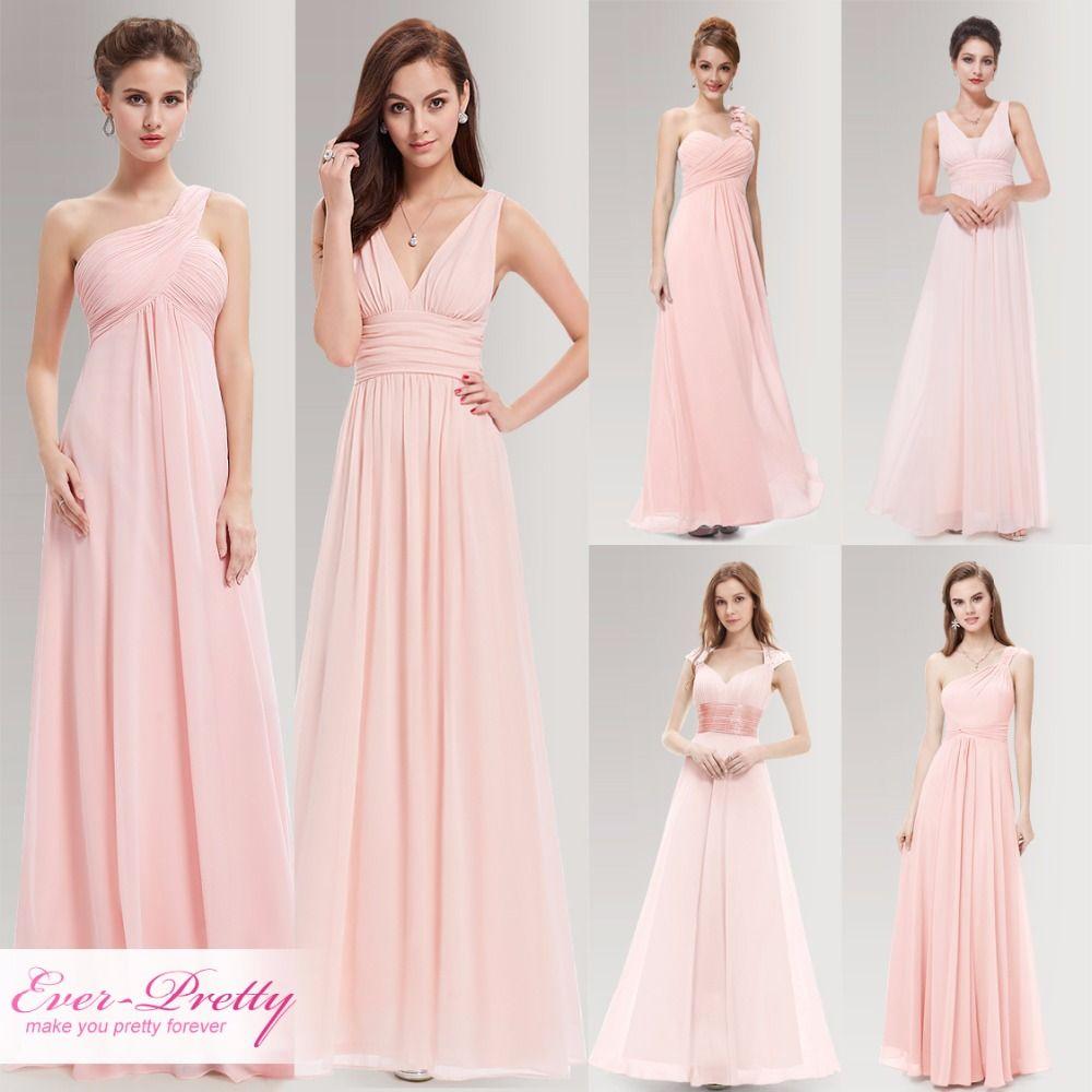Peachy pink long bridesmaid dresses a line one shoulder under