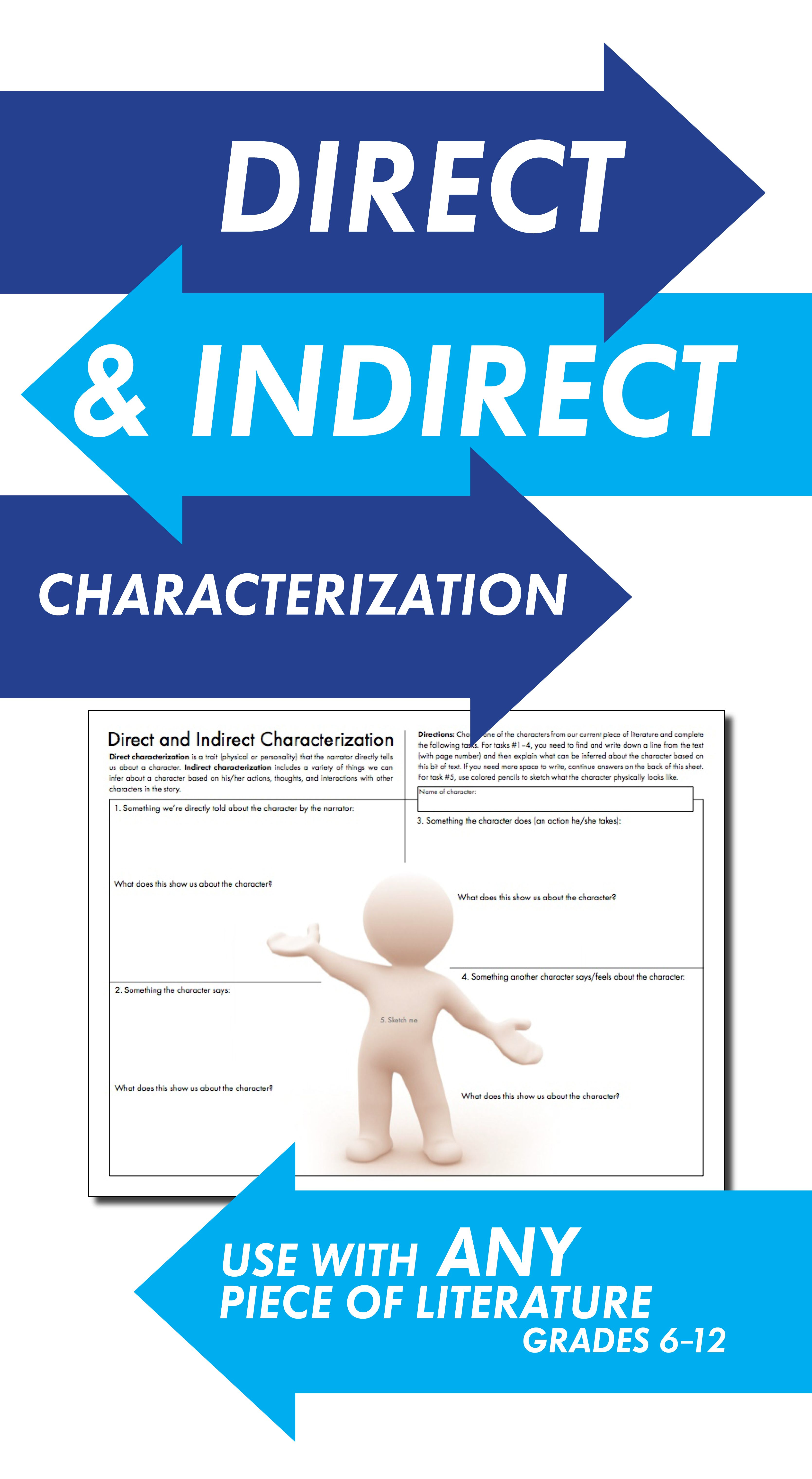 Direct & Indirect Characterization, Fun Print-and-Teach Handout ...