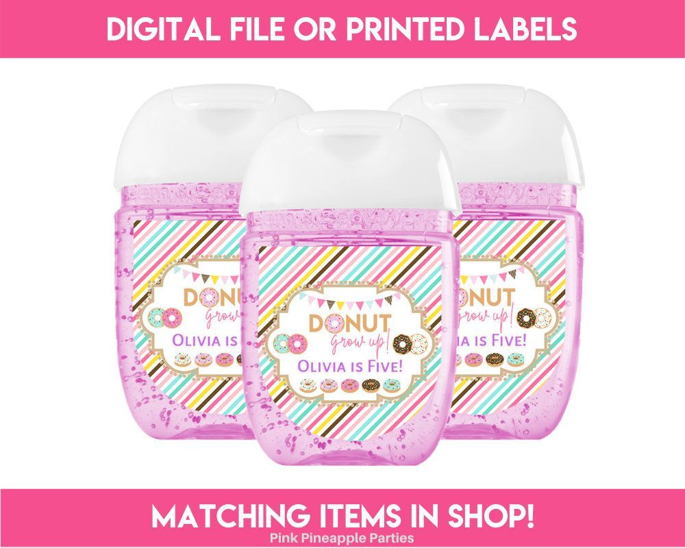 Donut Grow Up 1 25 X 1 375 Mini Hand Sanitizer Labels Pdf