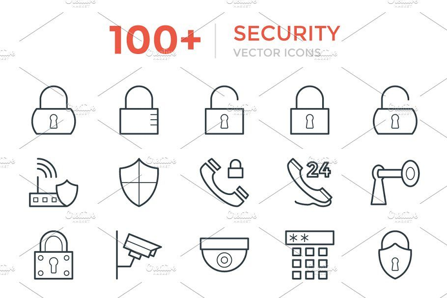 100 Security Vector Icons #Security#Icons#Vector (With
