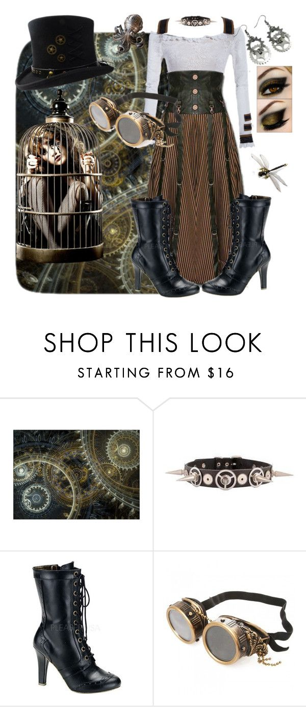 """""""Steampunk inventor"""" by denibrad ❤ liked on Polyvore featuring Demonia and Alexander McQueen"""