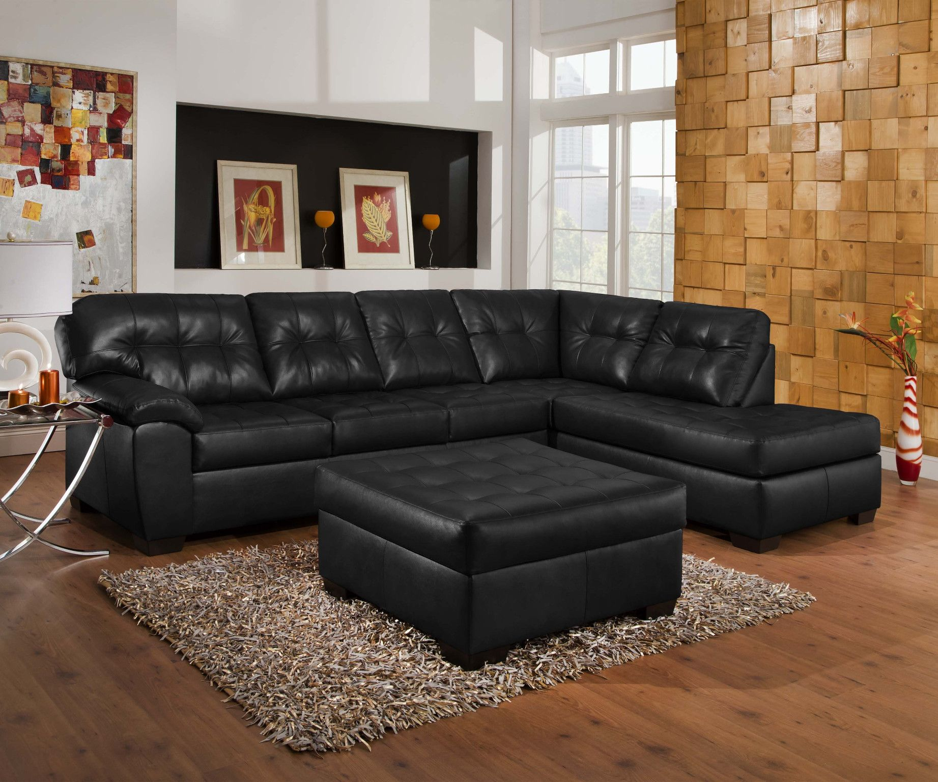 2 Piece Sectional Sofa In Soho Onyx Breathable Black Bonded Leather 899 00 Sofa Red Sectional Sofa Red Leather Sofa Sectional Sectional Sofa With Chaise
