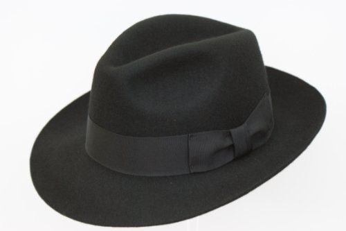 Gents Black Wide Brim Fedora Hat 100/% Wool Hand Made Felt Trilby With Band