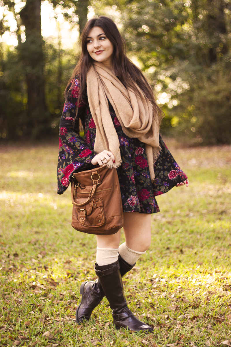 Bell sleeved dress knee socks tall boots and a scarf clothing