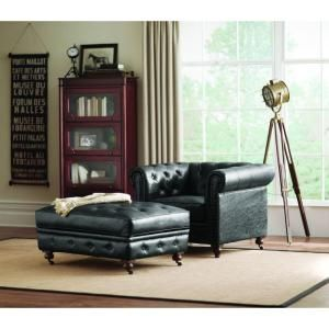 Home Decorators Collection Gordon Leather Arm Chair in Black 0849600700 at The Home Depot - Mobile