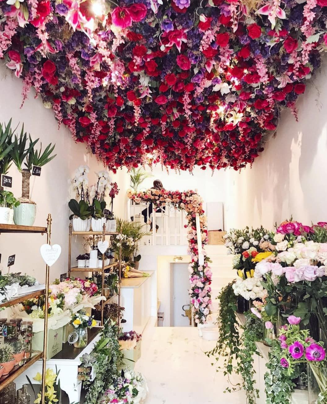 Good Morning London This Place Is Amazing Why Not Have A Flower Ceiling If You Re A Florist Shop And Flower Ceiling Flower Shop Interiors Flower Shop Display