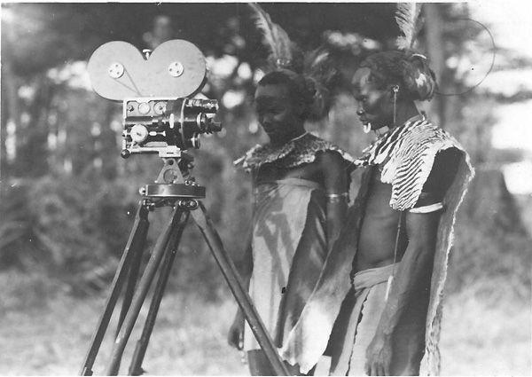 Guasho Nyero River, Turkana Men, with Bell & Howell Camera