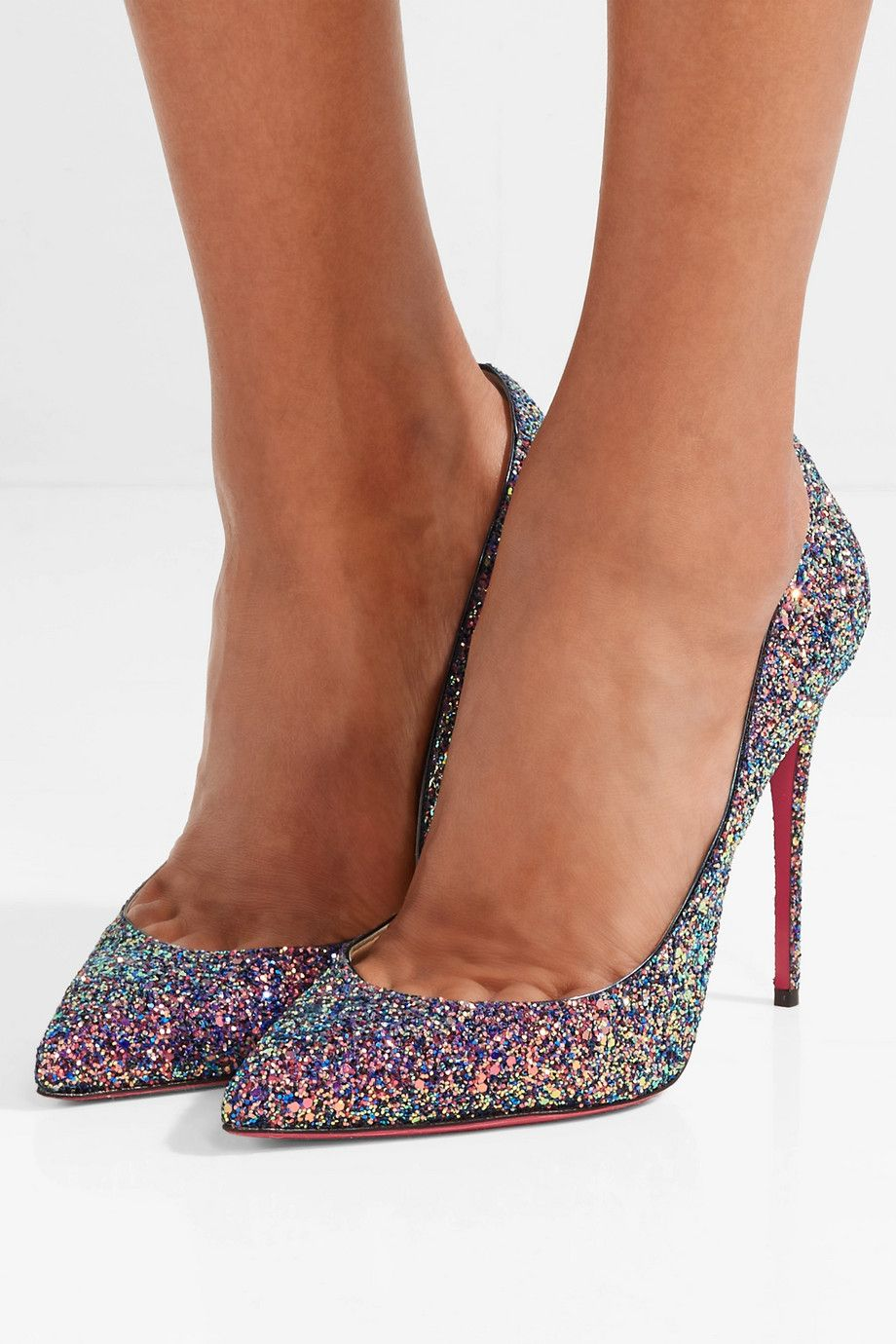 bf3001cd1e Christian Louboutin | Pigalle Follies 100 glittered leather pumps |  NET-A-PORTER.COM