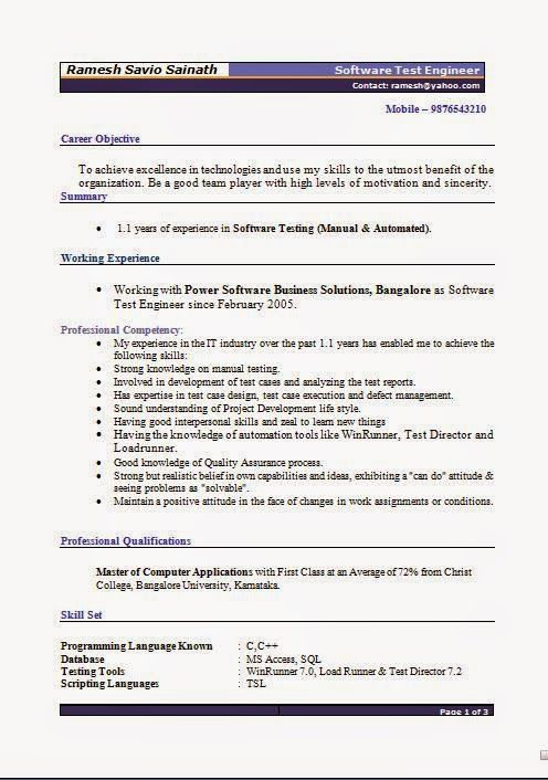 graphic designers resumes Sample Template Example of Excellent - software tester resume sample