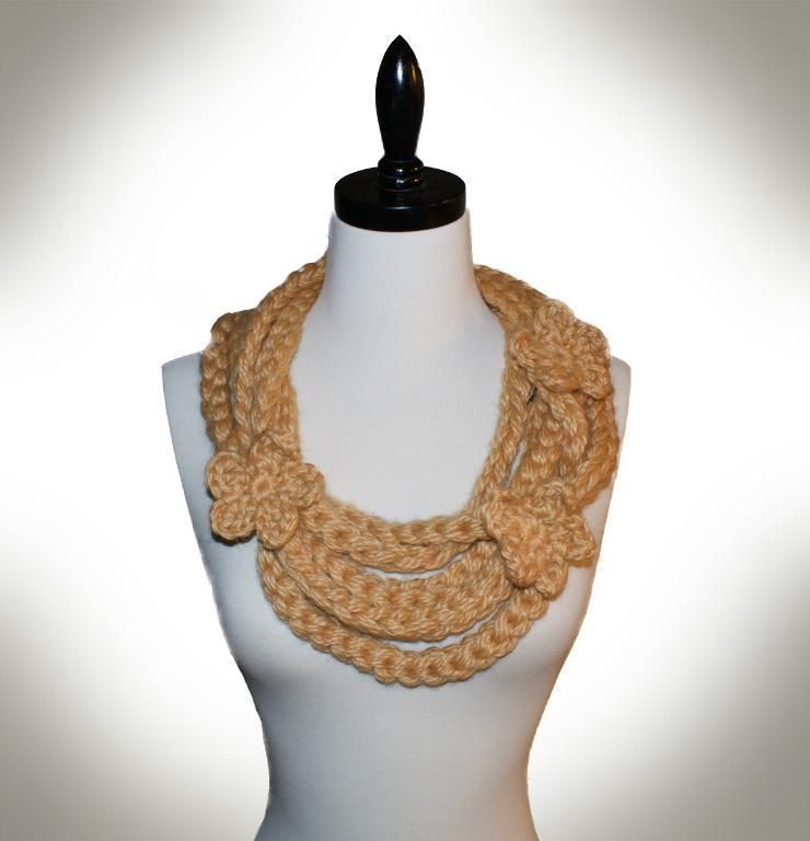 Golden Gate Necklace Scarf (crochet) | Pulceras, Collares y Tejido