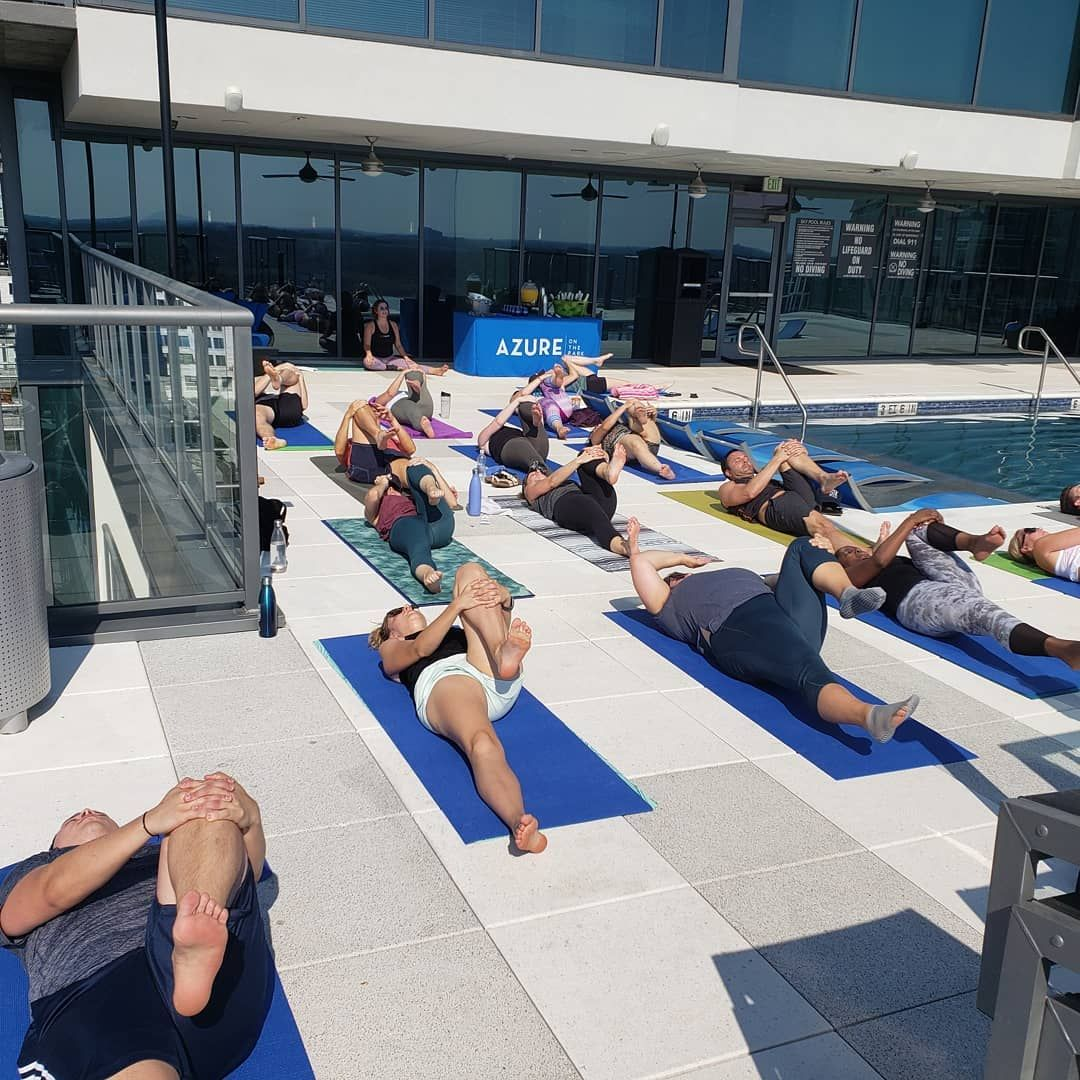 Sunday Morning Poolside Yoga & Mimosas at @azuremidtown was a hit! We'll be back next weekend fo...