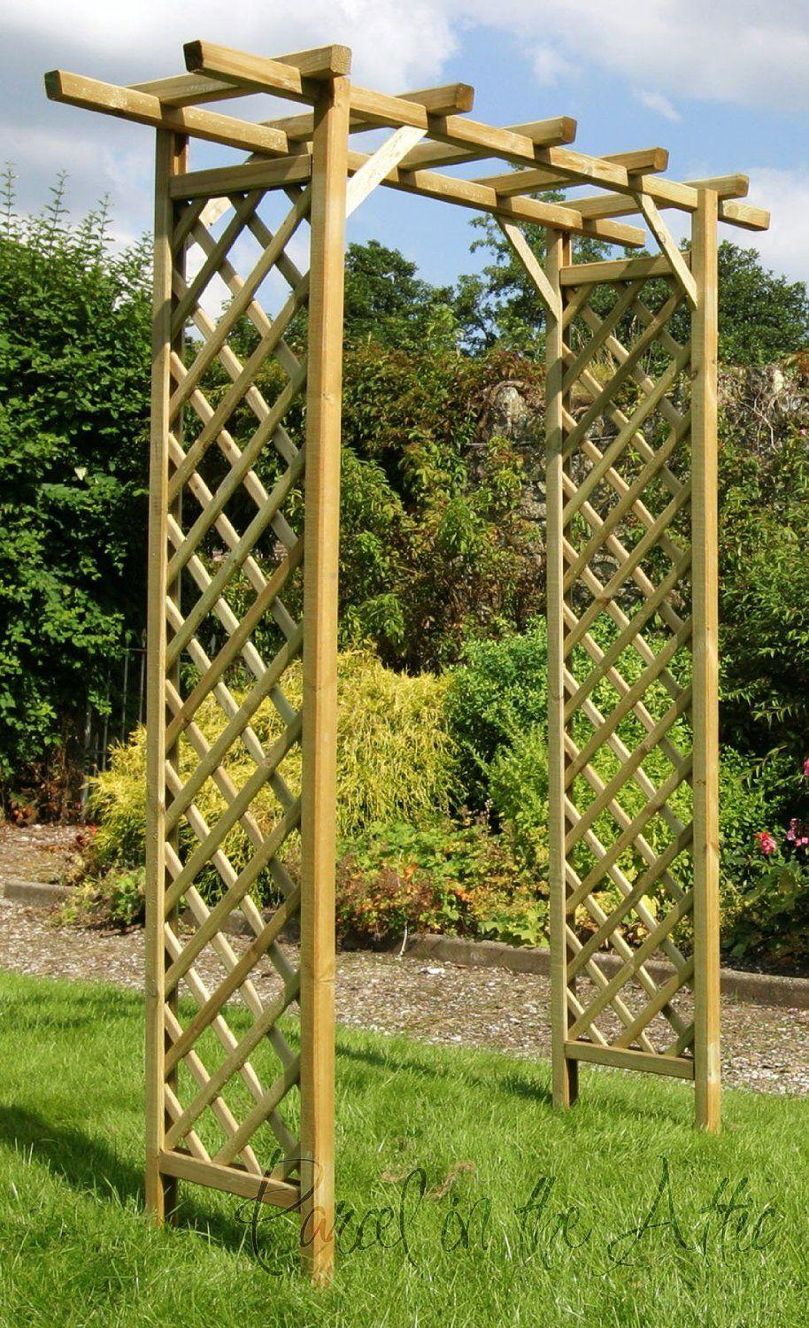 Square Flat Top Wooden Garden Arch With Trellis Sides Treated