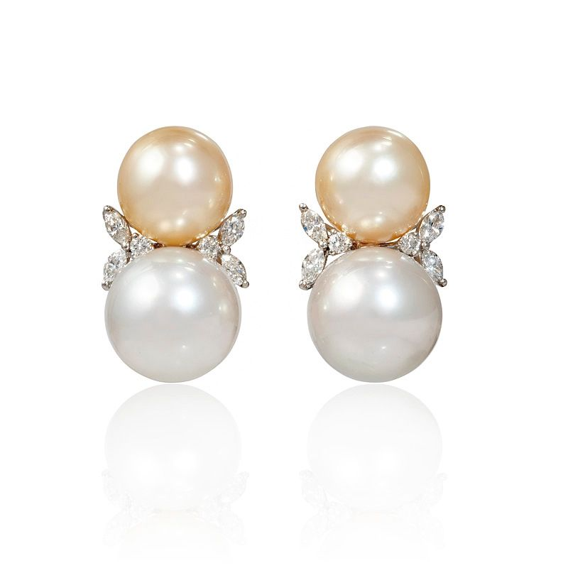 74ct Diamond And South Sea Pearl 18k White Gold Earrings