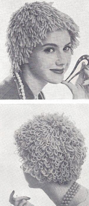 Vintage Knitting PATTERN to make Loopy Shag Wig Hat Yarn Loop Hair Loss WigHats