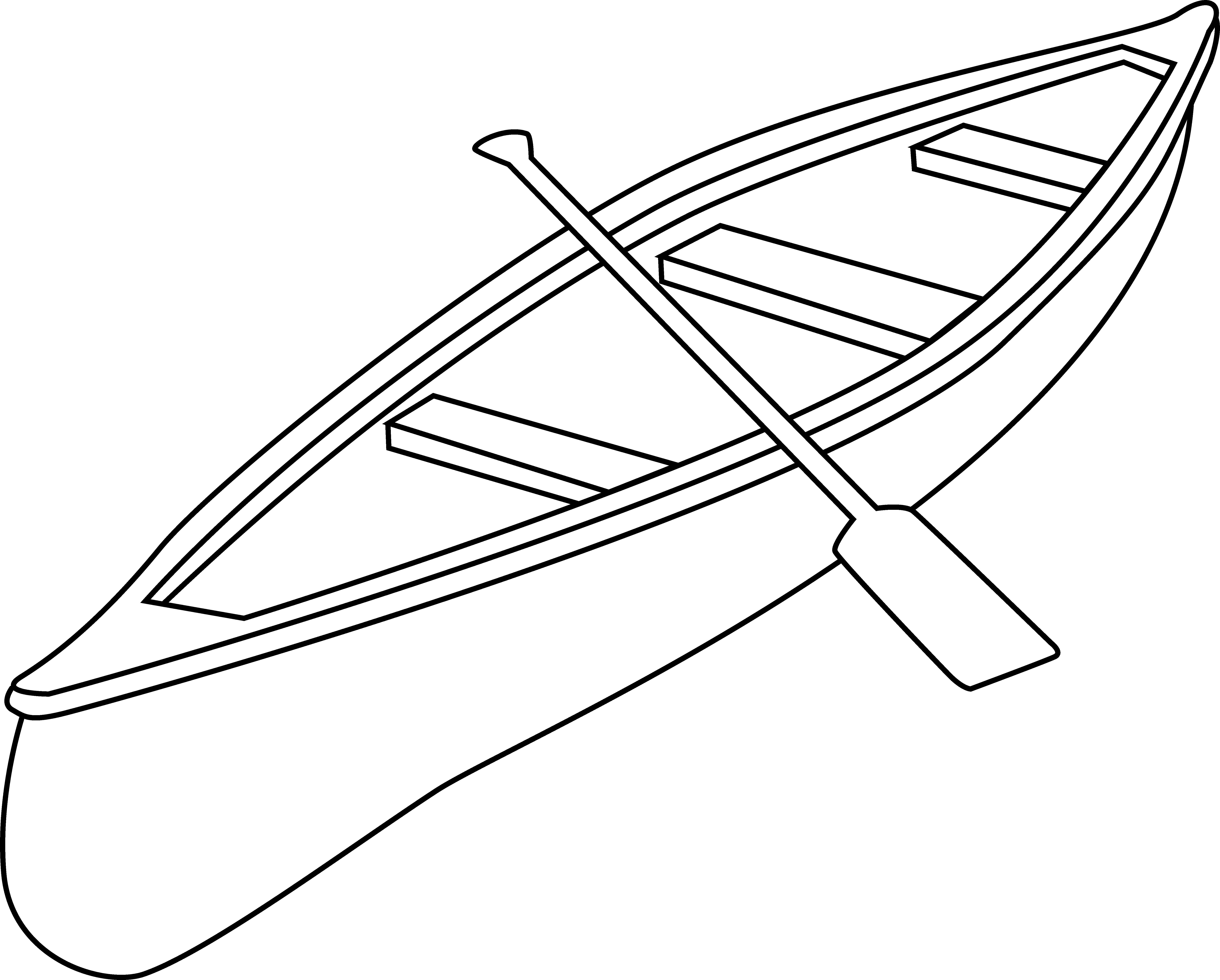 Free Canoe Clip Art Black And White Outline