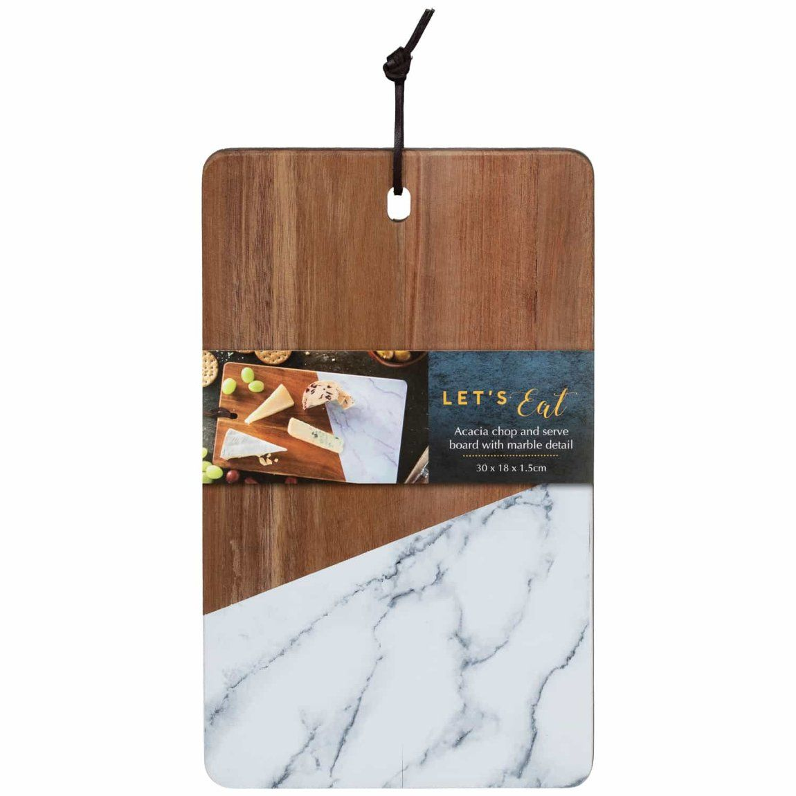 Acacia Chopping Board With Marble Small Kitchen