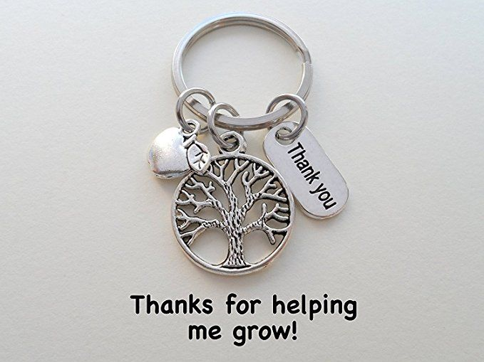 Amazon.com: Tree Keychain Appreciation Gift, Thank You Charm with Apple Charm Keychain - Thanks for Helping Me Grow: Clothing