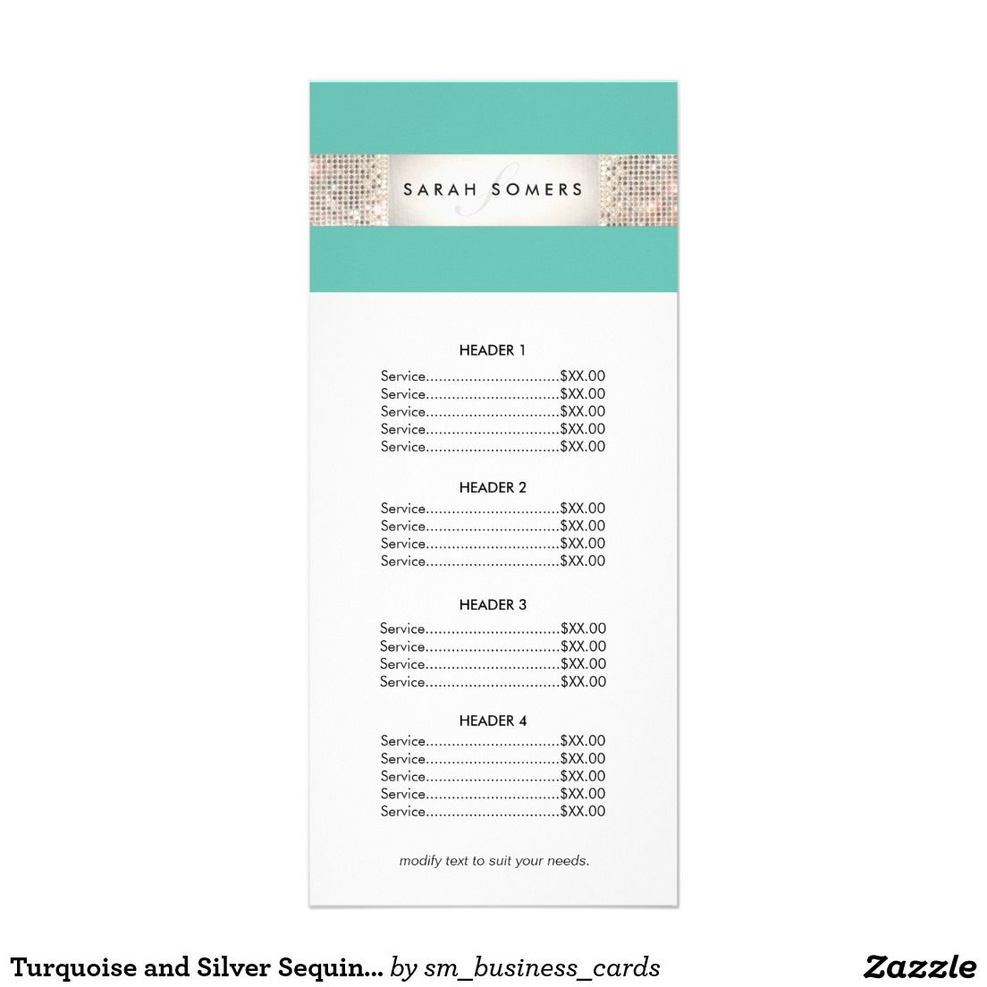 Turquoise And Silver Sequin Price List Menu  Great For Beauty