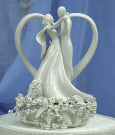 Glass Vintage Wedding Cake Toppers | Vintage Rose Pearl And Heart Wedding  Cake Topper   Wedding Photo Gallery