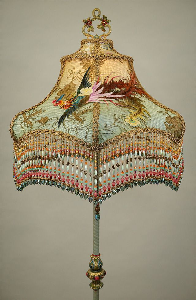 Chinoiserie Lampshade With Antique Textiles By Christine
