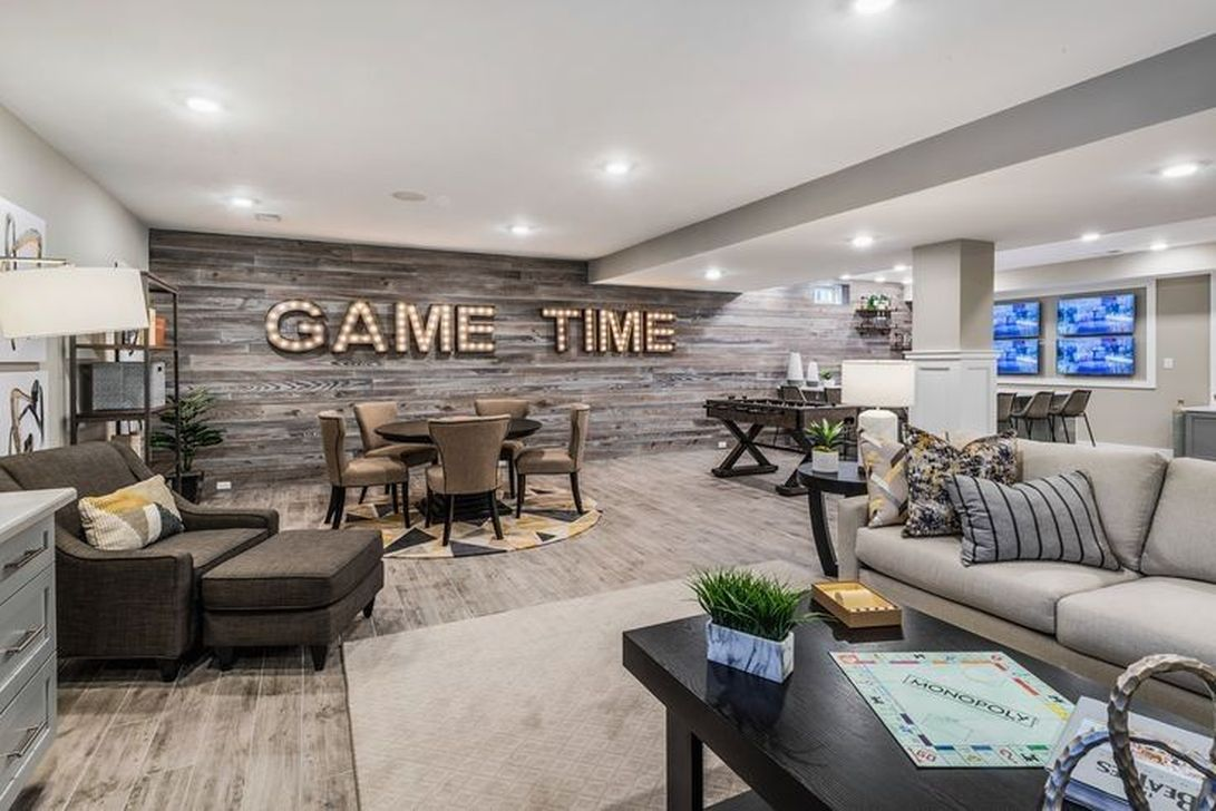 33 Stunning Basement Remodel Ideas Be A Beautiful Living Space In 2020 Basement Living Rooms Finished Basement Designs Game Room Basement