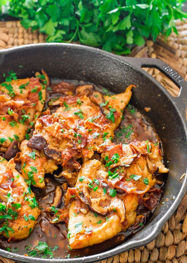 Chicken Marsala with Shiitake Mushrooms and Prosciutto. Eliminate flour for dredging and use cornstarch in place of 1 T flour for thickening for a lower carb and gluten-free version.