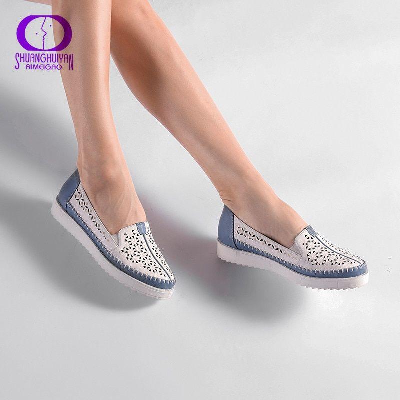 Alta Calidad Zapatos Casuales Slip On Mocasines Zapatos De Mujer Zapatos De Cuero Cómodo Zapatos Planos De Fon Calzado Mujer Zapatos Mujer Zapatos De Mezclilla