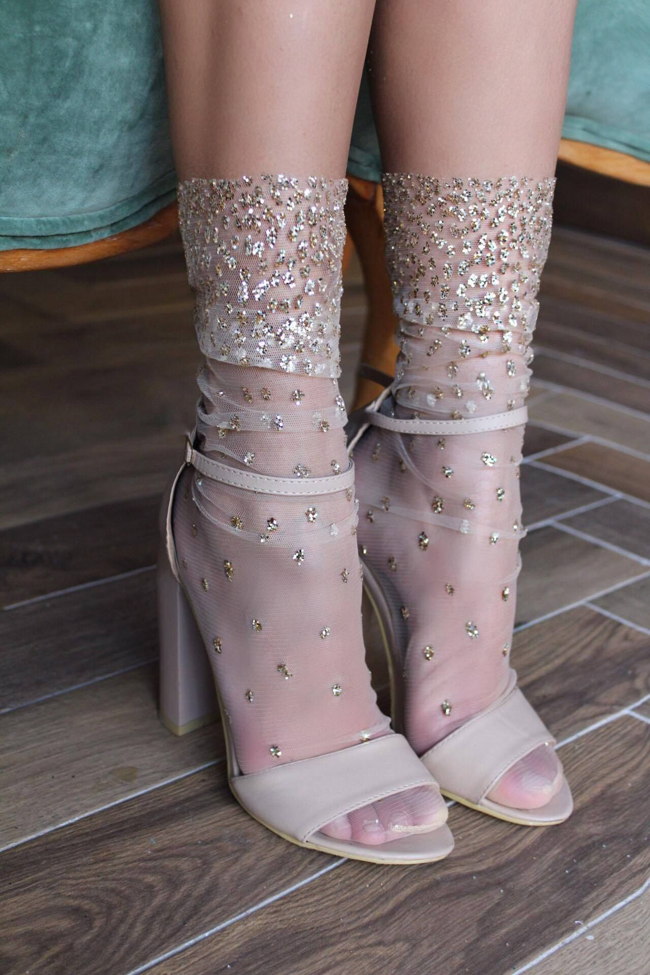 8c20c6e6a9e Cascading Shimmer Socks Heels With Socks