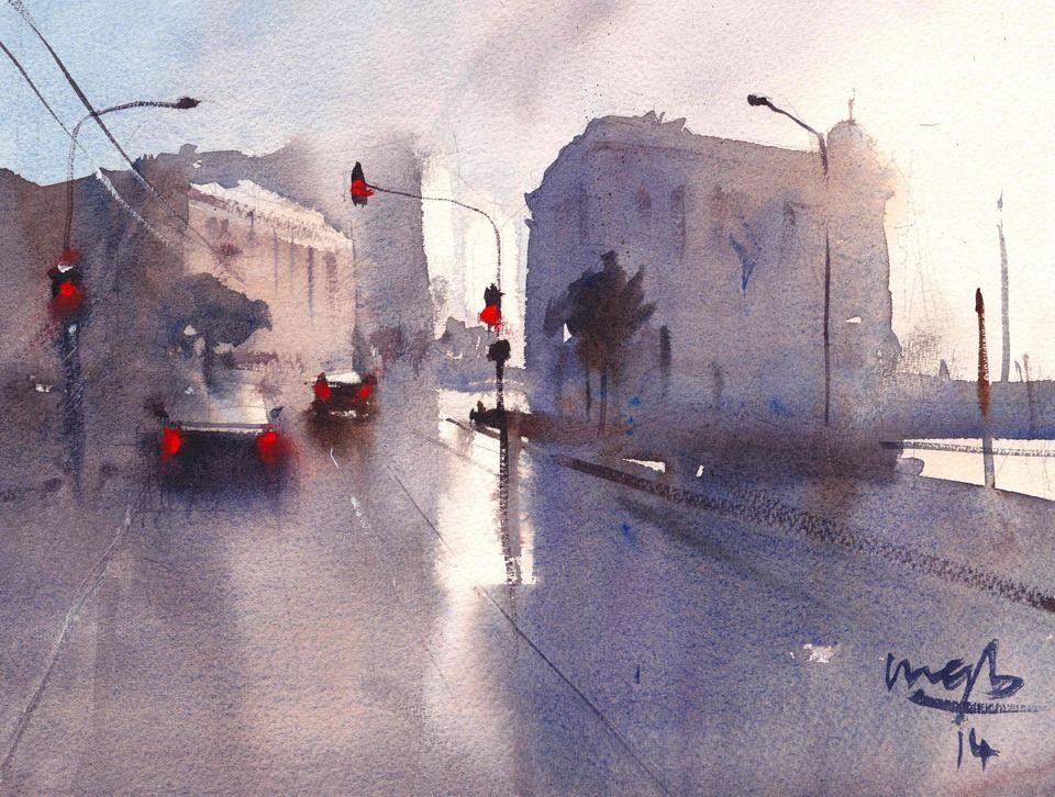 Jervois Quay Wellington By Michael Bennett 2014 Watercolor