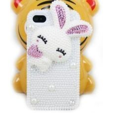 iPhone 4, 4S protective case with Rabbit jeweled bling