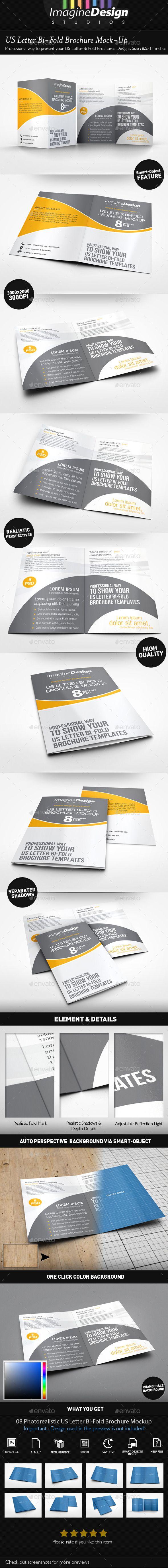 Us Letter BiFold Brochure MockUp  Brochures Mockup And Template