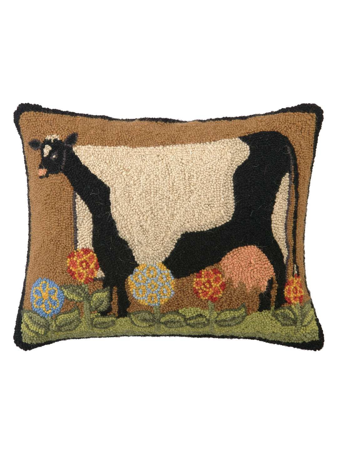 Phi Live Simply Cow Hand Hooked Pillow