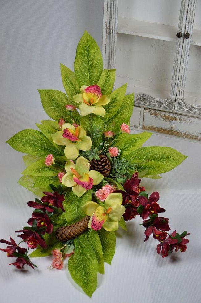 Stroik Na Grob Storczyk Kwiaty Sztuczne Cmentarz 5644720720 Oficjalne Archiwum Allegro Floral Arrangements Flower Arrangements Floral Designs Arrangements