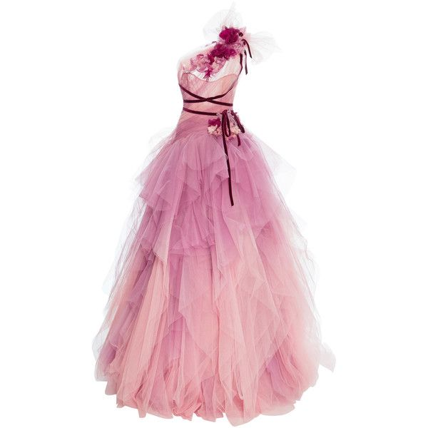 Marchesa Ombre Tulle Gown (€10.995) ❤ liked on Polyvore featuring ...