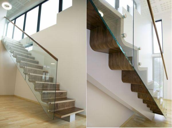 wellenförmige treppen-holz glasgeländer transparent | Treppe ...