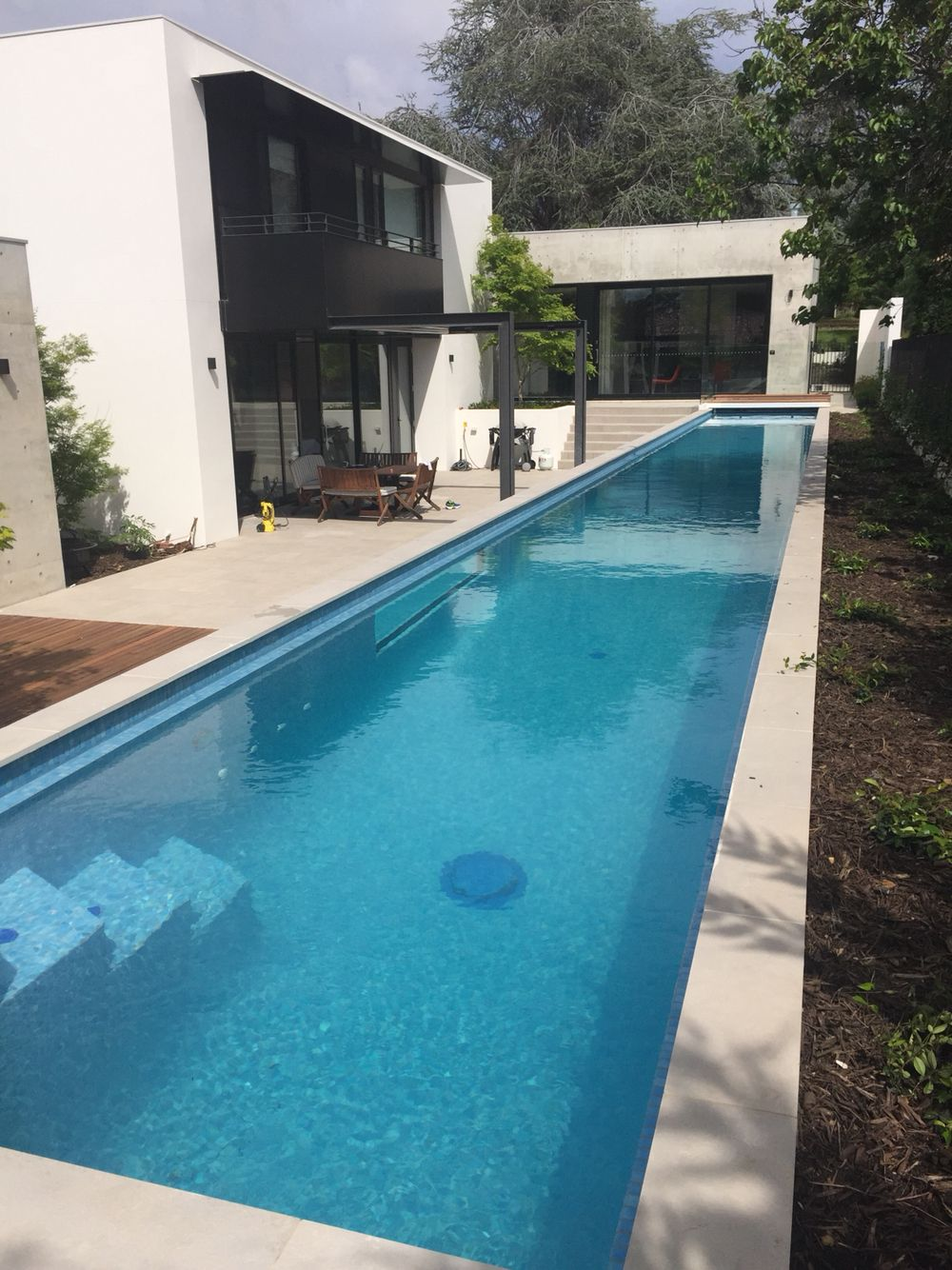 25m above ground residential lap pool with 2 side windows for Indoor lap pool cost