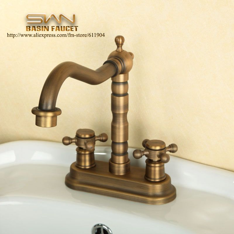 Antique Brass 4 Inch Centerset Bathroom Faucet Lavatory Vessel Sink Basin Faucets Mixer Taps Cold Hot Water Tap Vintage Style Water Tap Bathroom Fixtures Sink