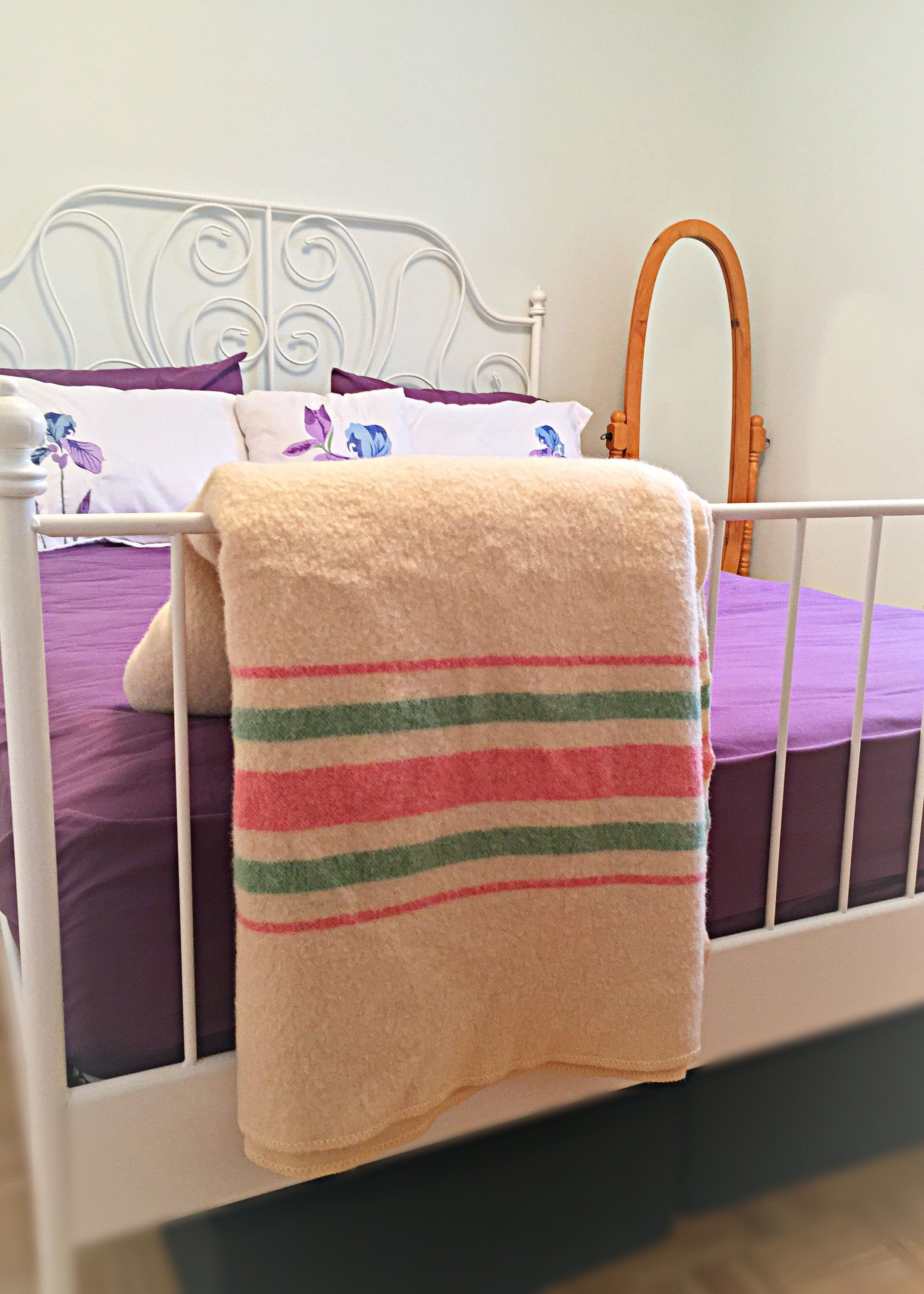 Wool Blanket Double Cream White with Pink/Green Stripes