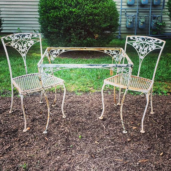 Woodard Orleans Wrought Iron Set Table And 2 Chairs