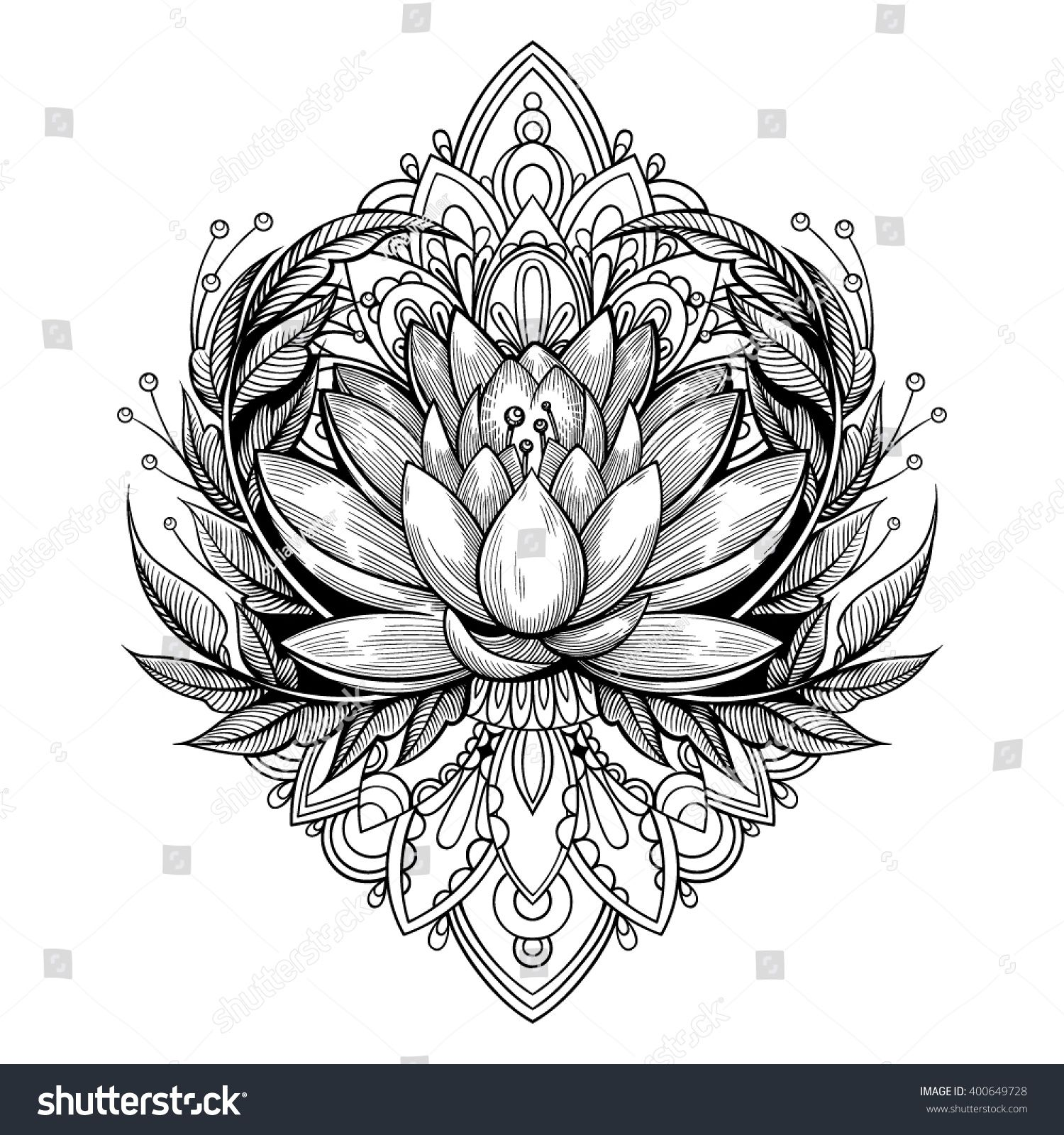 Vector Black and White Tattoo Flower Illustration Black
