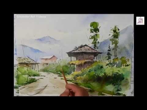 Painting Landscape In Watercolors By Artist Sikander Singh