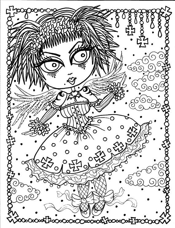 Instant Download 5 Coloring pages Gothic Angels by ChubbyMermaid ...