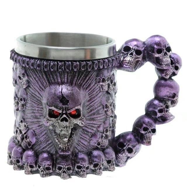 Photo of Coolest Gothic Skull Resin Stainless Steel Beer Mug Dragon Knight Tankard Halloween Coffee Cup Christmas Tea Mug Pub Bar Decor – Blue Monster