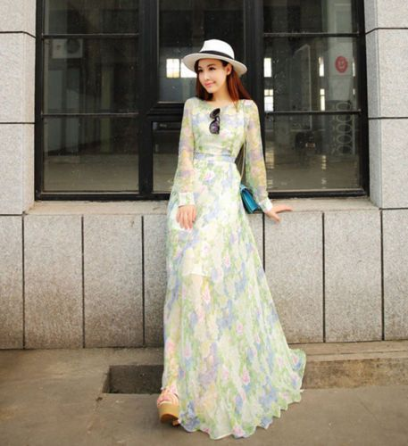 7271d153b89 New-Women-Summer-Sexy-Long-Sleeve-Evening-Party-Cocktail-Maxi-Long-Chiffon- Dress