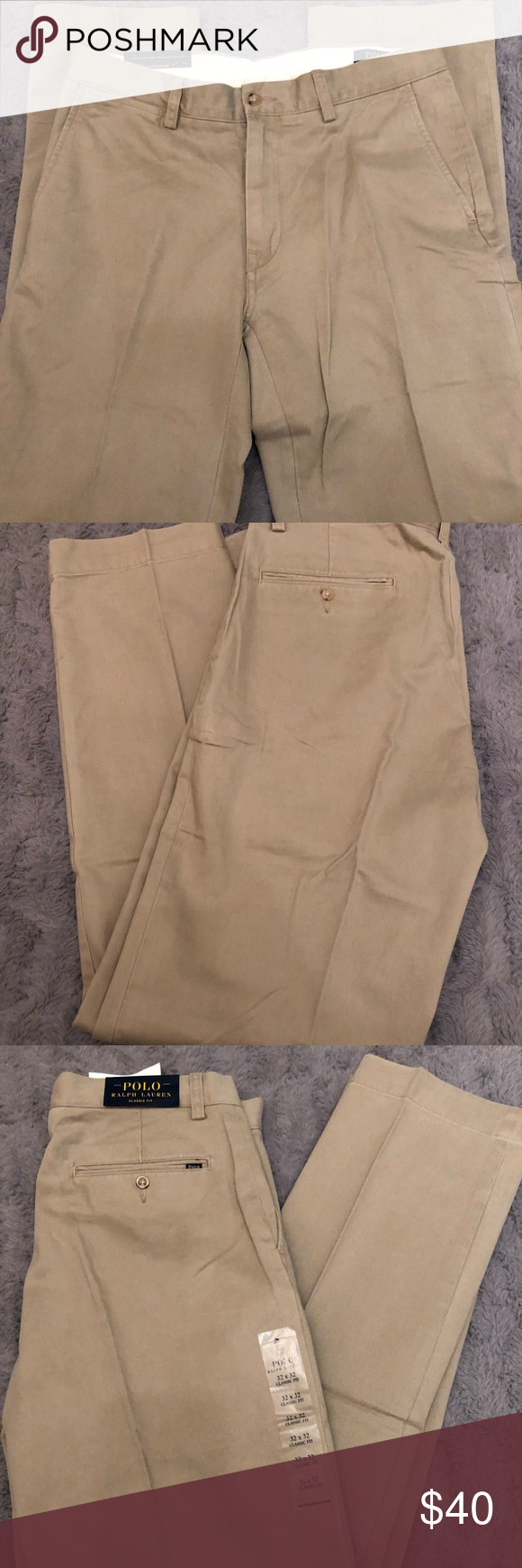 Men's Slacks Khaki Polo Size 32x32 w8PkX0nO