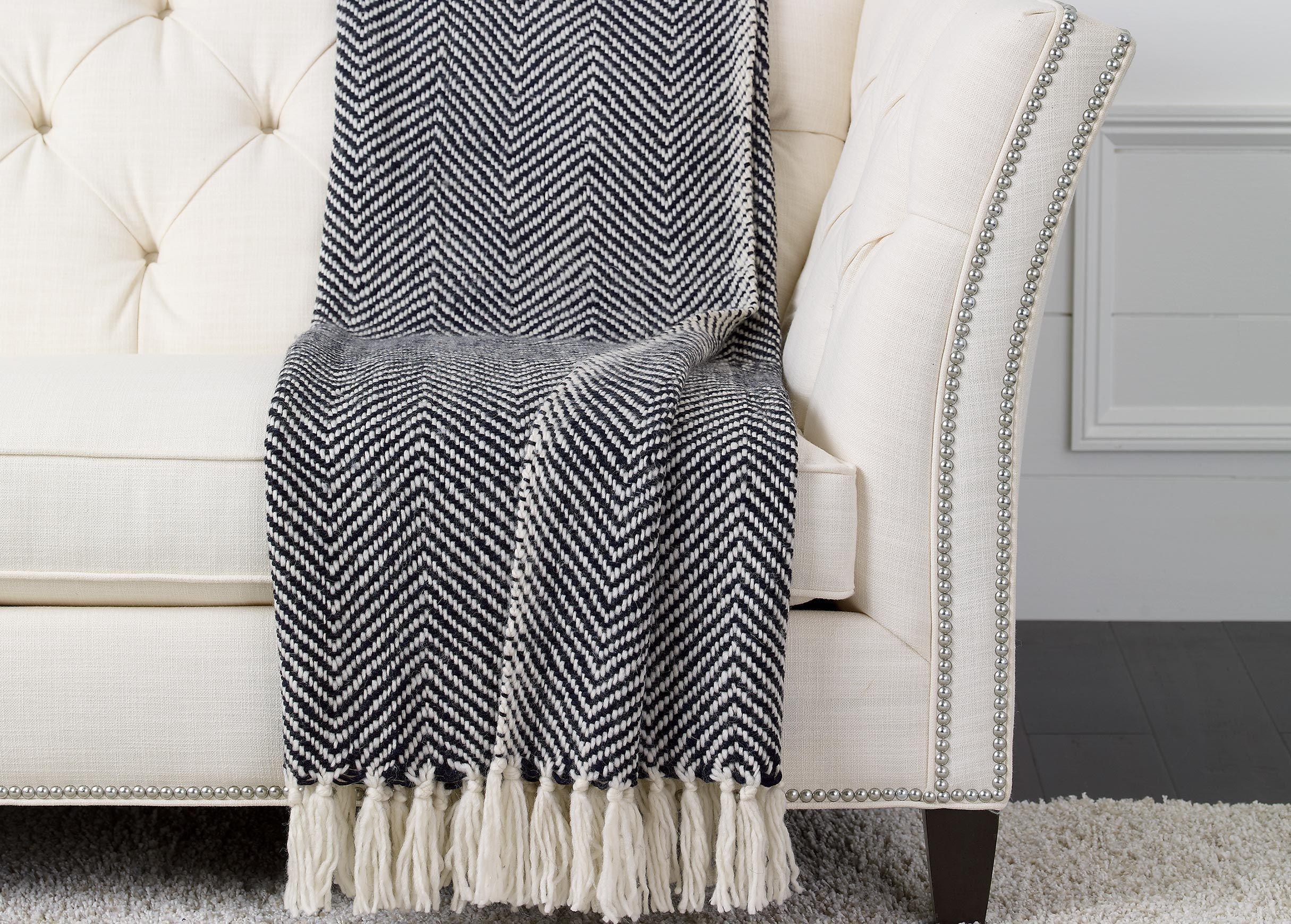 Incredible 100 Outdoor Throw Herringbone Knit Throw Black White Machost Co Dining Chair Design Ideas Machostcouk