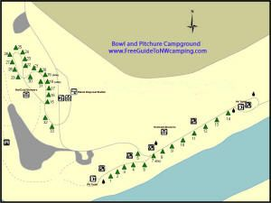 A map of the Bowl and Pitcher Campground at Riverside State