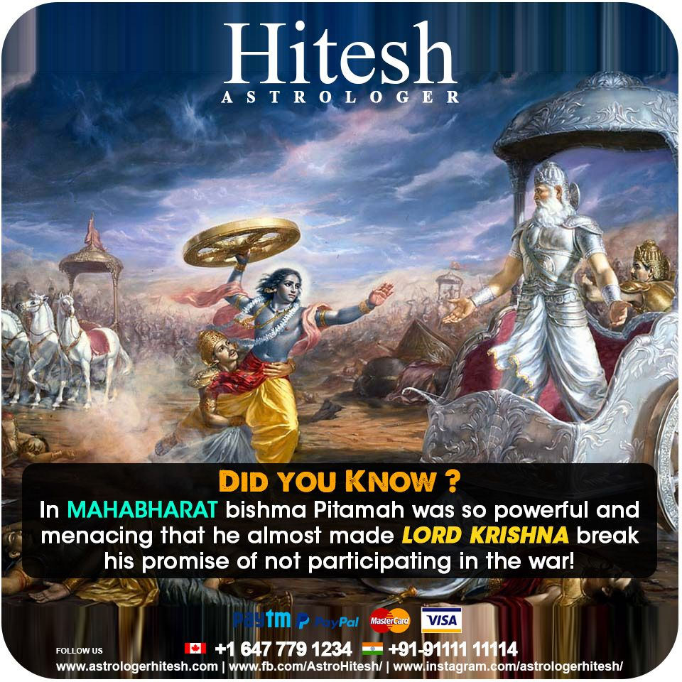 Did You Know In Mahabharat Bhishma Pitamah Was So Powerful And Menacing That He Almost Made Lord Krishna Break His Promise O With Images Astrology Hd Images Lord Krishna