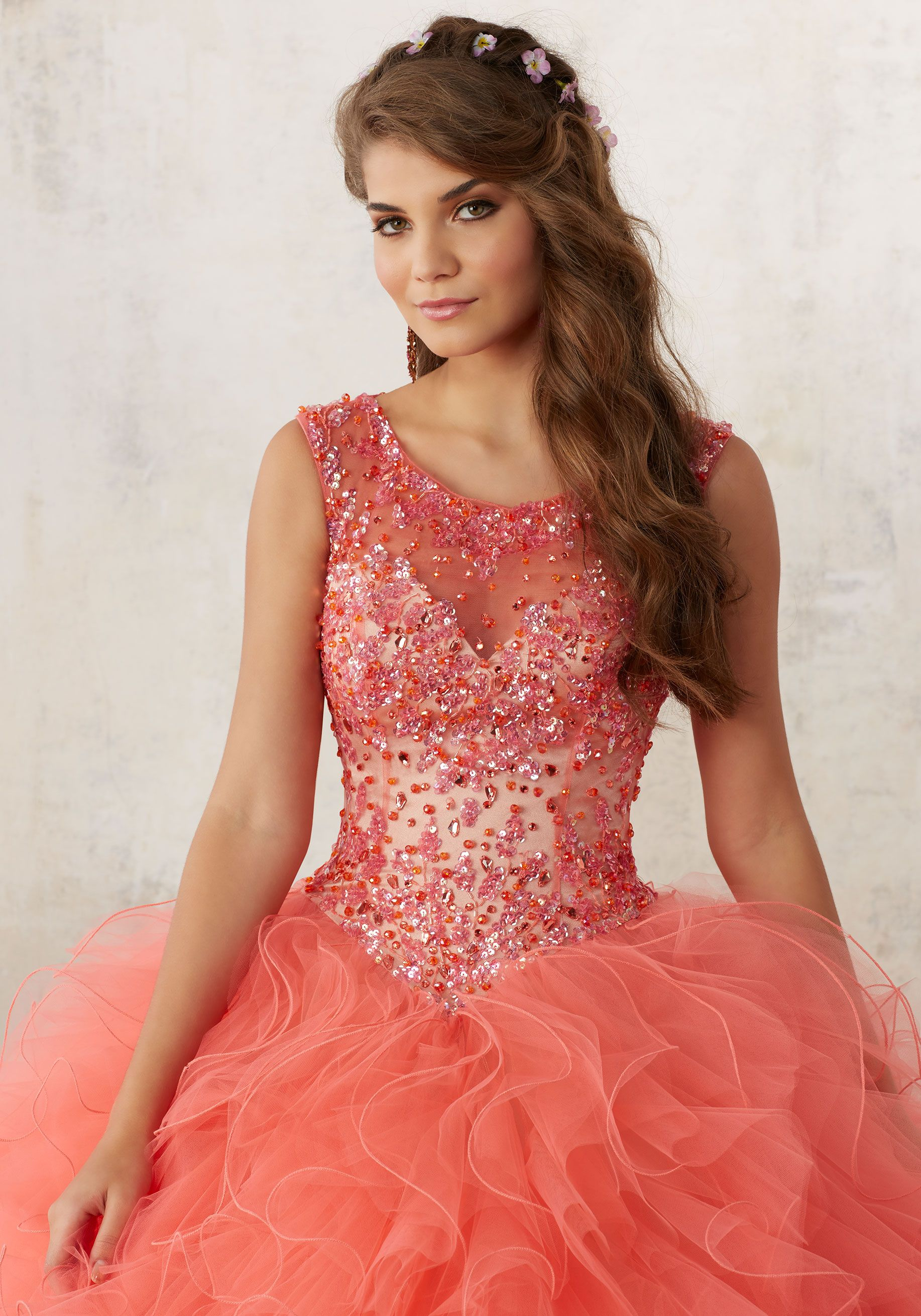 4eef7b64ae0d Jeweled Beading on a Ruffled Tulle Quinceañera Ball Gown | Valencia Style  60013 | Quinceanera Dresses by Morilee designed by Madeline Gardner.