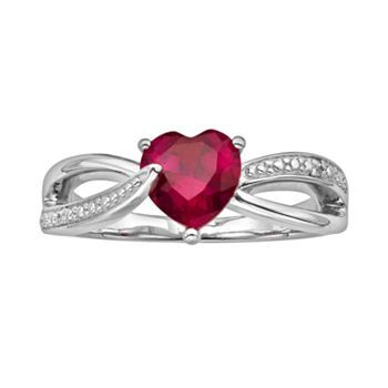 Fine Jewelry Womens Lab-Created Red Ruby and Diamond Accent Ring in Sterling Silver MkRDOIhkm